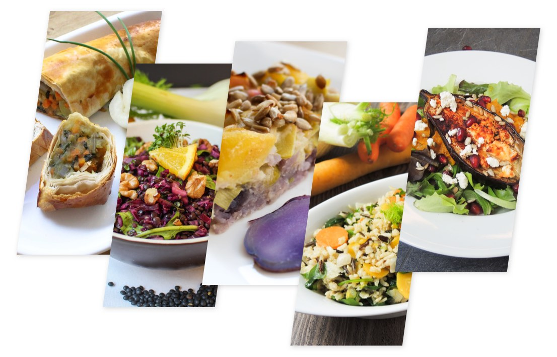 Basenbox: das Bild zeigt fünf verschiedene Gerichte